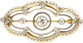 Estate Jewelry:Brooches - Pins, Edwardian Diamond, Seed Pearl, Platinum-Topped Gold Brooch. ...