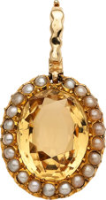 Estate Jewelry:Pendants and Lockets, Citrine, Cultured Pearl, Gold Pendant. ...