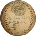 Autographs:Baseballs, Circa 1928 Chicago Cubs & New York Giants Signed Baseball with Hack Wilson, Ott....
