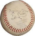 Autographs:Baseballs, Circa 1950 Ty Cobb & Wife Signed Baseball....