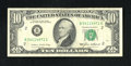 Error Notes:Ink Smears, Fr. 2027-B $10 1985 Federal Reserve Note. Fine.. Approximatelyone-third of the back is covered with a green ink smear affec...