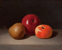 PETER BAUMGRAS (American, 1827-1904) Still Life with Fruit Oil on wood panel 8-1/4 x 10 inches (2