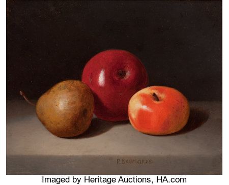 PETER BAUMGRAS (American, 1827-1904)Still Life with FruitOil on wood panel8-1/4 x 10 inches (21.0 x 25.4 cm)Sign...
