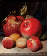 PETER BAUMGRAS (American, 1827-1904) Still Life with Apples and Plums, 1868 Oil on canvas 8-1/4 x