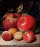PETER BAUMGRAS (American, 1827-1904) Still Life with Apples and Plums, 1868 Oil on canvas 8-1/4 x 7-1/4 inches (21.0