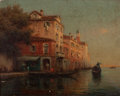 Fine Art - Painting, European:Modern  (1900 1949)  , ANTOINE BOUVARD (French, 1870-1956). Venetian Canal. Oil oncanvas. 13 x 16 inches (33.0 x 40.6 cm). Signed lower left: ...