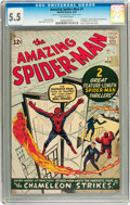 Silver Age (1956-1969):Superhero, The Amazing Spider-Man #1 (Marvel, 1963) CGC FN- 5.5 Off-whitepages....