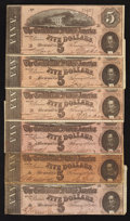 Confederate Notes:1864 Issues, T69 $5 1864. Six Examples.. ... (Total: 6 notes)