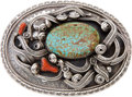 American Indian Art:Jewelry and Silverwork, Signed Navajo or Zuni Belt Buckle....