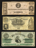 Confederate Notes:Group Lots, 1861 and 1862 Notes in Fine.. ... (Total: 3 notes)