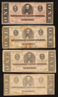 Confederate Notes:1864 Issues, T71 $1 1864 Four Examples.. ... (Total: 4 notes)