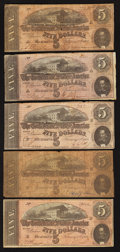 Confederate Notes:1864 Issues, T69 $5 1864 Five Examples.. ... (Total: 5 notes)