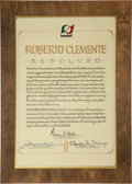 Autographs:Others, 1973 Roberto Clemente Memorial Resolution Plaque Presented to His Widow....