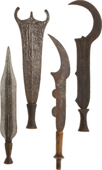 Lot of Four African Ethnographic Knives & Two Ceremonial Swords