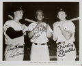 Autographs:Photos, Circa 1980 Roger Maris, Willie Mays & Mickey Mantle Signed Photograph....