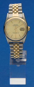 Timepieces:Wristwatch, Rolex Ref. 16200 Gent's Two Tone Datejust, circa 1990. ...