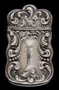 Silver Smalls:Match Safes, A BASS SILVER MATCH SAFE . E & J Bass, New York, New York,circa 1900. Marks: (diamond-B), STERLING . 2-1/2 inches high...