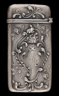 Silver Smalls:Match Safes, AN AMERICAN SILVER MATCH SAFE . Maker unknown, American, circa1900. Marks: STERLING . 2-3/8 inches high (5.9 cm). .5 tr...