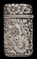 Silver Smalls:Match Safes, AN AMERICAN SILVER MATCH SAFE . Maker unknown, American, circa1900. Marks: STERLING, KNOX SMITH . 2-1/2 inches high (6....