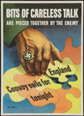 "Movie Posters:War, World War II ""Bits of Careless Talk"" (U.S. Government PrintingOffice, 1943). Propaganda Poster (20"" X 28""). War.. ..."