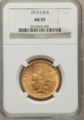 Indian Eagles: , 1913-S $10 AU55 NGC. NGC Census: (177/400). PCGS Population(113/273). Mintage: 66,000. Numismedia Wsl. Price for problem f...