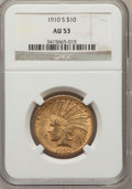 Indian Eagles: , 1910-S $10 AU53 NGC. NGC Census: (74/1167). PCGS Population(134/1155). Mintage: 811,000. Numismedia Wsl. Price for problem...