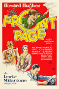 "Movie Posters:Comedy, The Front Page (United Artists, 1931). One Sheet (27"" X 41"").. ..."