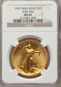 High Relief Double Eagles: , 1907 $20 High Relief, Wire Rim MS65 NGC. NGC Census: (159/33). PCGS Population (288/93). Mintage: 11,250. Numismedia Wsl. P...