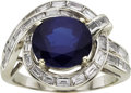 Estate Jewelry:Rings, Sapphire, Diamond, Platinum Ring, circa 1950. ...