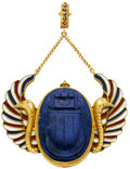 Estate Jewelry:Pendants and Lockets, Egyptian Revival Carved Lapis Lazuli, Enamel, Gold Pendant. ...
