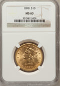 Liberty Eagles: , 1898 $10 MS63 NGC. NGC Census: (332/152). PCGS Population (209/68).Mintage: 812,197. Numismedia Wsl. Price for problem fre...