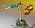 Silver Holloware, American:Other , A TWO PART TIFFANY & CO. SILVER AND ENAMEL CIRCUS ACROBAT ONPLINTH DESIGNED BY GENE MOORE . Made in Italy for Tiffany &Co.... (Total: 2 Items)