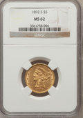 Liberty Half Eagles: , 1892-S $5 MS62 NGC. NGC Census: (61/9). PCGS Population (55/32).Mintage: 298,400. Numismedia Wsl. Price for problem free N...
