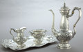 Silver Holloware, American:Coffee Pots, A GORHAM FOUR-PIECE SILVER BLACK COFFEE SERVICE . GorhamManufacturing Co., Providence, Rhode Island,1905-1906. Marks:(lion... (Total: 4 Items)