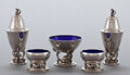 Silver Holloware, Continental:Holloware, A GEORG JENSEN FIVE-PIECE GROUP OF SILVER AND COBALT BLUE ENAMELOPEN SALTS AND SHAKERS . Georg Jensen, Inc., Copenhagen, D...(Total: 5 Items)
