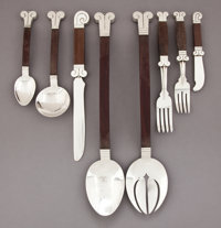 A FORTY-NINE PIECE HECTOR AGUILAR MEXICAN SILVER AND ROSEWOOD AZTEC PATTERN FLATWARE SERVICE
