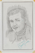 Movie/TV Memorabilia:Autographs and Signed Items, A Clark Gable Signed Sketch, Circa 1940s....