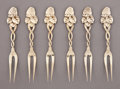 Silver Flatware, American:Tiffany, A CASED SET OF SIX TIFFANY SILVER GILT STRAWBERRY PATTERNLEMON FORKS . Tiffany & Co., New York, New York, circa...(Total: 6 Items)