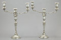 Silver Holloware, British:Holloware, A PAIR OF JOHN GREEN GEORGE III SILVER THREE-LIGHT CANDELABRA .John Green, Roberts, Mosely & Co., Sheffield, England, 1800-...(Total: 4 Items)
