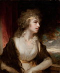 Fine Art - Painting, European:Antique  (Pre 1900), JOHN HOPPNER (British, 1758-1810). Portrait of a Lady atHalf-Length in a light dress with a lace collar resting her armo...