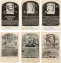 Autographs:Others, 1950's-60's Hall of Famers Signed Black & White Plaques Lot of 31....