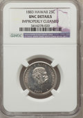 Coins of Hawaii: , 1883 25C Hawaii Quarter -- Improperly Cleaned -- NGC Details. Unc.NGC Census: (6/814). PCGS Population (7/1064). Mintage: ...
