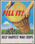 "Movie Posters:War, World War II ""Help Harvest War Crops"" by Stevan Dohanos (U.S.Government Printing Office, 1945). Propaganda Poster (22"" X 28..."