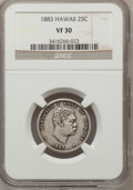 Coins of Hawaii: , 1883 25C Hawaii Quarter VF30 NGC. NGC Census: (4/1029). PCGSPopulation (15/1549). Mintage: 500,000. (#10987)...