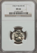 Jefferson Nickels, (4)1942-P 5C Silver Type Two MS66 NGC.... (Total: 4 coins)