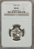 Jefferson Nickels, (4)1942-S 5C MS66 NGC.... (Total: 4 coins)
