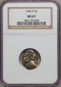 Jefferson Nickels: , 1942-S 5C MS67 NGC. NGC Census: (1282/4). PCGS Population (64/0).Mintage: 32,900,000. Numismedia Wsl. Price for problem fr...