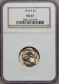 Jefferson Nickels: , 1944-S 5C MS67 NGC. NGC Census: (1593/3). PCGS Population (107/0).Mintage: 21,640,000. Numismedia Wsl. Price for problem f...
