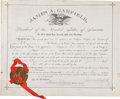 "Autographs:U.S. Presidents, James Garfield Appointment Signed ""James A. Garfield"" as president...."