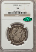 Barber Half Dollars: , 1892-O 50C Fine 12 NGC. CAC. NGC Census: (5/209). PCGS Population(9/285). Mintage: 390,000. Numismedia Wsl. Price for prob...
